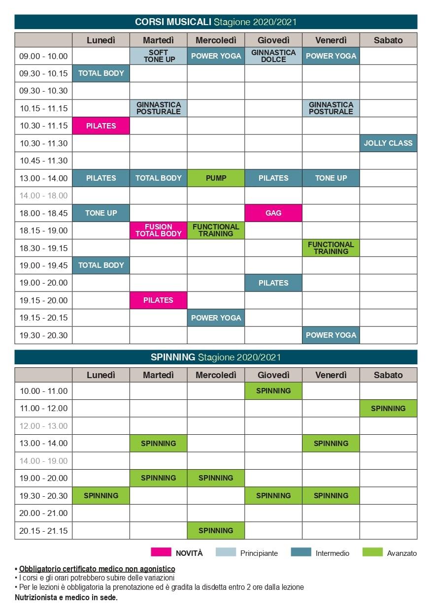 Calendario corsi aggiornato